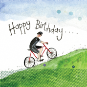Alex Clark Art - Greeting Card - Little Sparkles - Hill Climb Cyclist Birthday